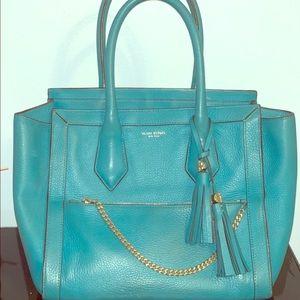 Henri Bendel leather teal purse